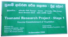 A sign indicating a pilot project for the forestation of coastal forests to prevent and reduce tsunami damage