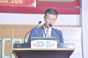 "Prof. Sato making a speech at a session entitled ""Rising India-Japan Relations: Transforming New Strategic Alliance"""